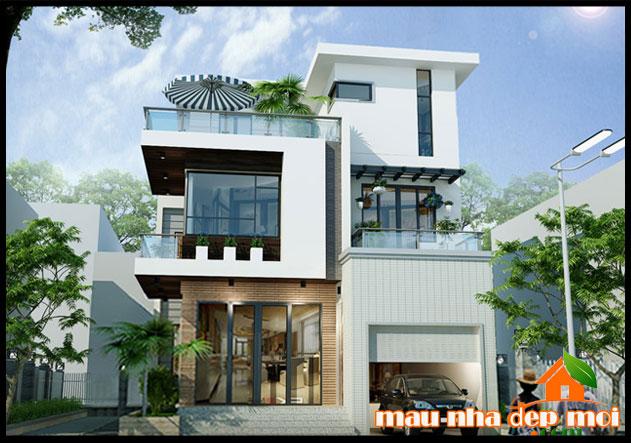 mẫu biệt thự đẹp 3 tầng hiện đại kiến trúc mái bằng