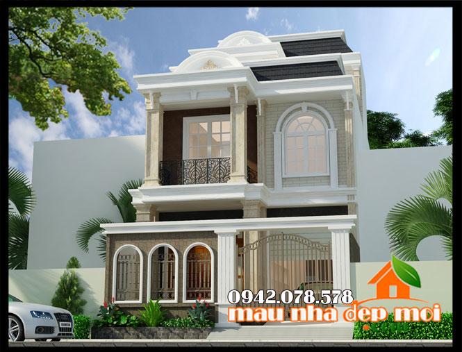 mẫu thiết kế biệt thự tân cổ điển 2 tầng 1 tum 7x18m