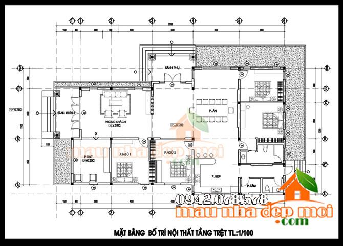 thiết kế nhà vườn cấp 4 diện tích 5.7x20m